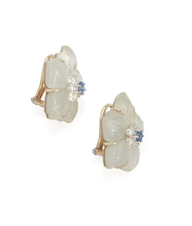 View 2. Thumbnail of Lot 37.  PAIR OF ROCK CRYSTAL, MOTHER-OF-PEARL, DIAMOND AND SAPPHIRE EARCLIPS, SEAMAN SCHEPPS.