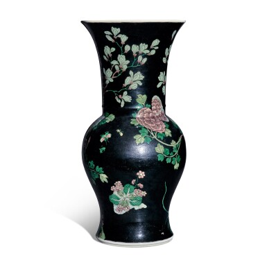 View 3. Thumbnail of Lot 12. A famille-noire 'bird and flower' yenyen vase, Qing dynasty, 19th century.