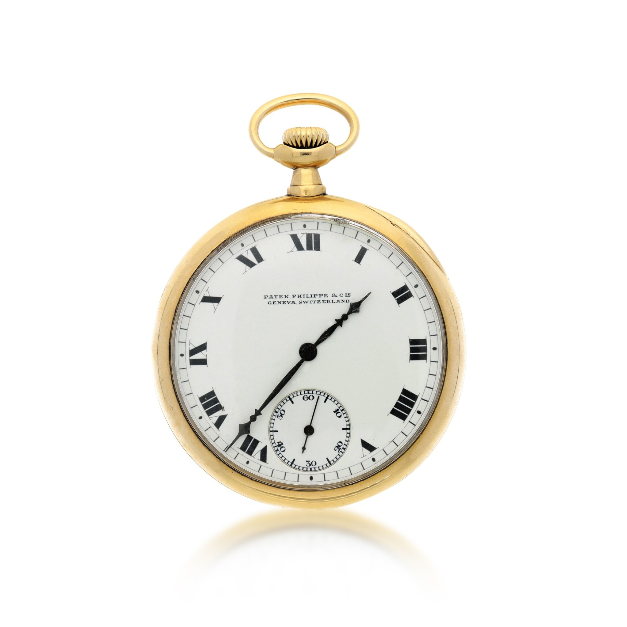 View full screen - View 1 of Lot 38. PATEK PHILIPPE | A YELLOW GOLD OPEN FACED WATCH, MADE IN 1914.