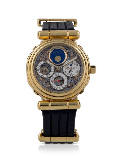 View 1. Thumbnail of Lot 41. GÉRALD GENTA |  REF G4009.4 YELLOW GOLD PERPETUAL CALENDAR TOURBILLON WRISTWATCH WITH MOON PHASES AND LEAP-YEAR INDICATION CIRCA 1992.