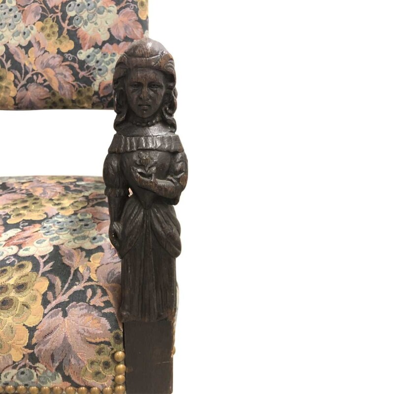 Baroque Style Barley Twist Upholstered Armchair