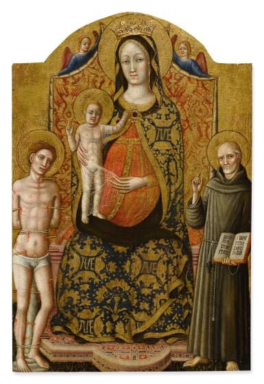 MASTER OF STAFFOLO | MADONNA AND CHILD ENTHRONED WITH SAINT SEBASTIAN, SAINT BERNARDINO OF SIENA AND TWO ANGELS