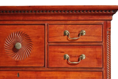 View 5. Thumbnail of Lot 65. Fine and Rare Chippendale Carved Cherrywood Chest-on-Chest, Signed by Bates How (b. 1776), Northwestern Connecticut, circa 1780.