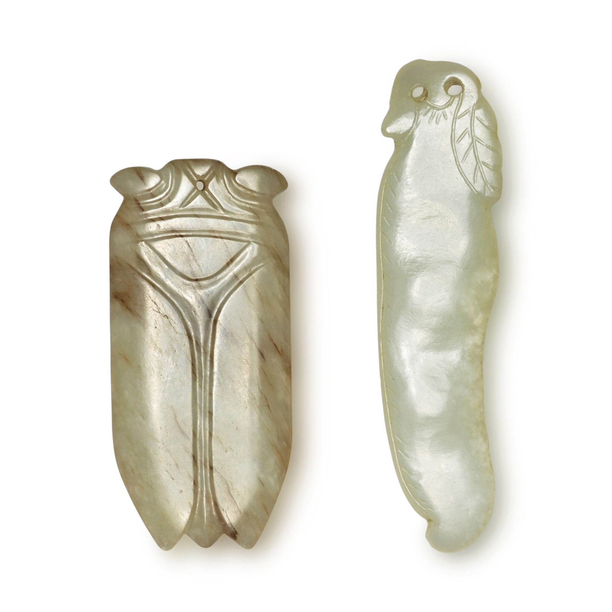 View full screen - View 1 of Lot 168. Two carved celadon jade pendants, Ming / Qing dynasty.
