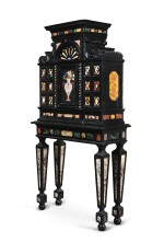 AN ITALIAN PIETRE DURE, MARBLE AND EBONIZED WOOD CABINET-ON-STAND LATE 19TH CENTURY