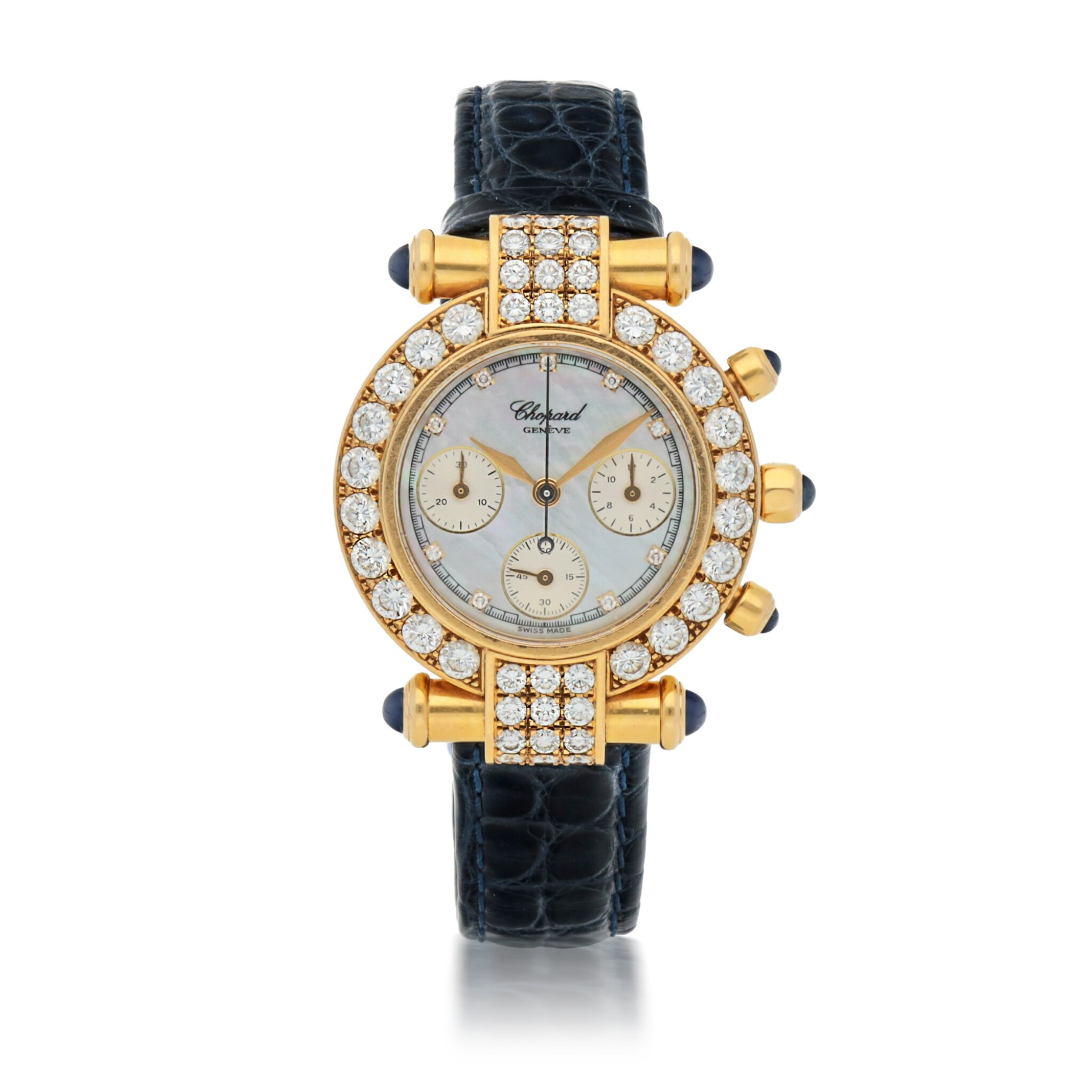 View full screen - View 1 of Lot 176. IMPERIALE, REF 4043 YELLOW GOLD AND DIAMOND-SET CHRONOGRAPH WRISTWATCH WITH MOTHER-OF-PEARL DIAL CIRCA 1996.