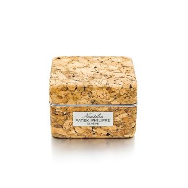 PATEK PHILIPPE  |  A CORK PRESENTATION BOX MADE FOR THE NAUTILUS AND RETAILED BY WEMPE, CIRCA 1980 | 百達翡麗 | 百達翡麗軟木盒子,為Nautilus而製及由Wempe發行,約1980年製