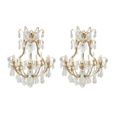 A PAIR OF LOUIS XV STYLE CUT GLASS AND ROCK CRYSTAL-MOUNTED GILT BRONZE NINE-LIGHT CHANDELIERS