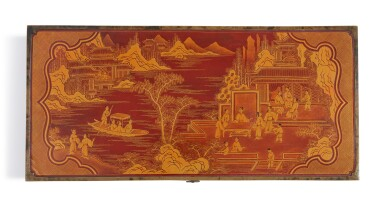 View 3. Thumbnail of Lot 1122.  A BROWN LACQUER AND GILT 'FIGURAL' RECTANGULAR BOX AND COVER,  LATE MING / QING DYNASTY.
