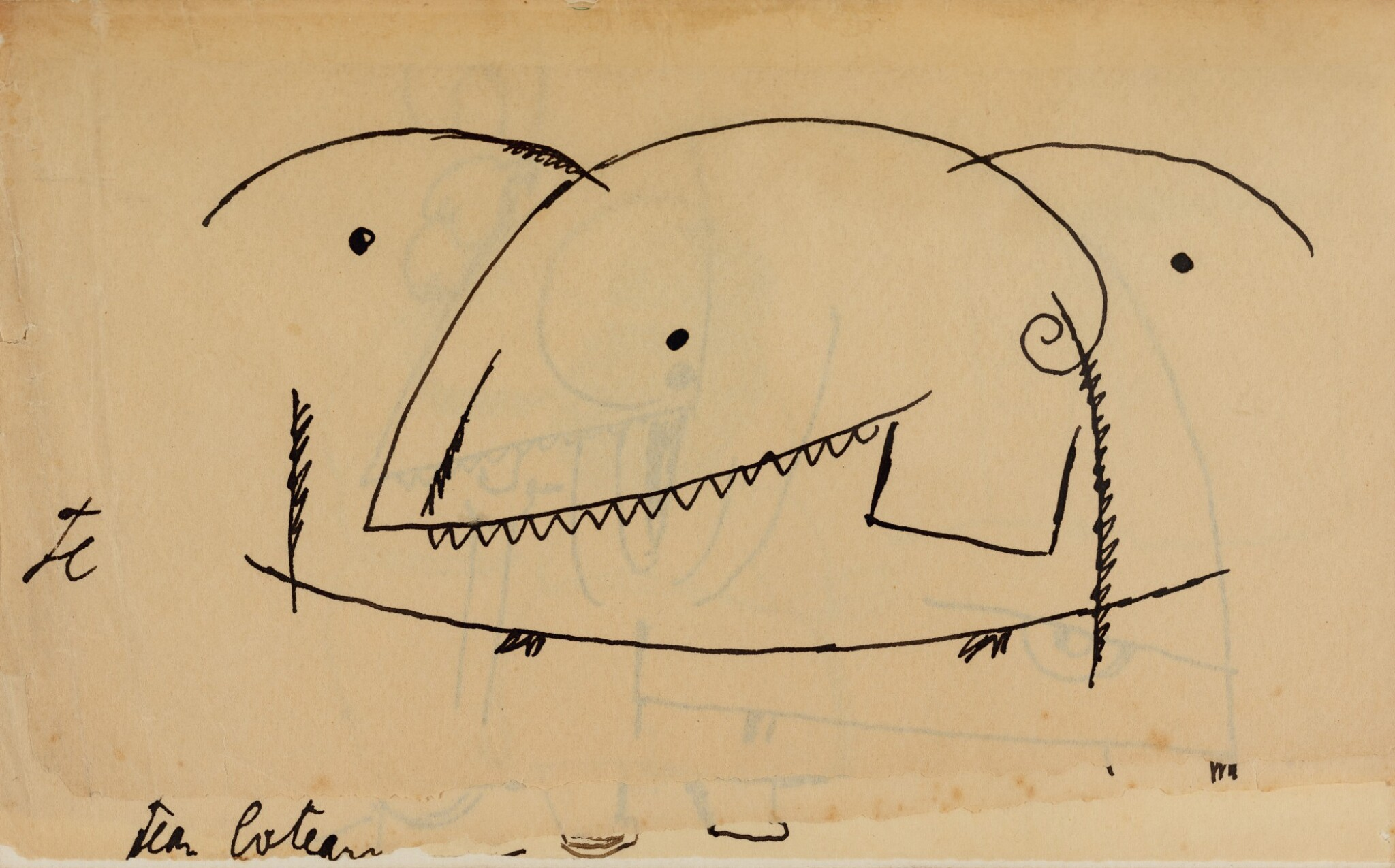 View full screen - View 1 of Lot 27. JEAN COCTEAU. Le Potomak. 1919. 1/10 exemplaires sur vergé de Hollande (n° 7), contenant trois dessins originaux..