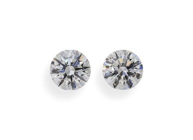 A Pair of 1.61 and 1.54 Carat Round Diamonds, E and F Color, VVS2 and Internally Flawless Clarity