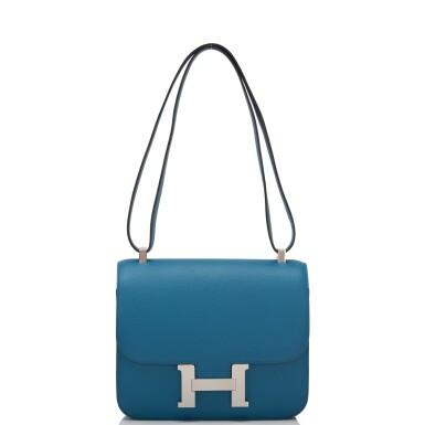 Hermès Bleu Izmir Constance 24cm of Epsom Leather with Palladium Hardware