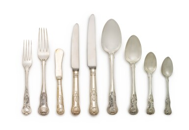 View 2. Thumbnail of Lot 267. AN ASSEMBLED GEORGE IV AND VICTORIAN SILVER KINGS PATTERN FLATWARE SERVICE, MOST ROBERT RUTLAND AND GEORGE ADAMS, LONDON, 1824-1890.