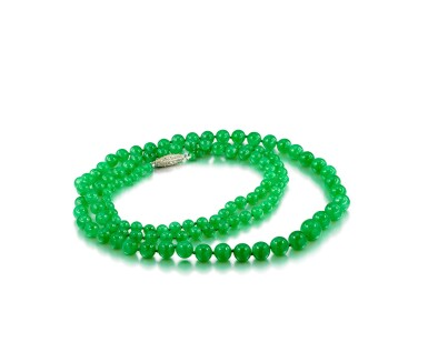 View 2. Thumbnail of Lot 1684. Jadeite Bead and Diamond Necklace | 天然翡翠珠 配 鑽石 項鏈.