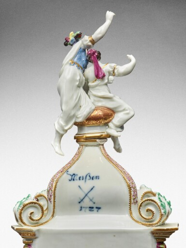 View 6. Thumbnail of Lot 64. A highly important documentary and dated Meissen mantel clock case, Dated 1727, the gilt-bronze mount probably German, mid-18th century, the movement signed Barrey à Paris, Circa 1700 .