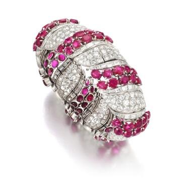 View 3. Thumbnail of Lot 170. Ruby and diamond bracelet | 紅寶石配鑽石手鏈.