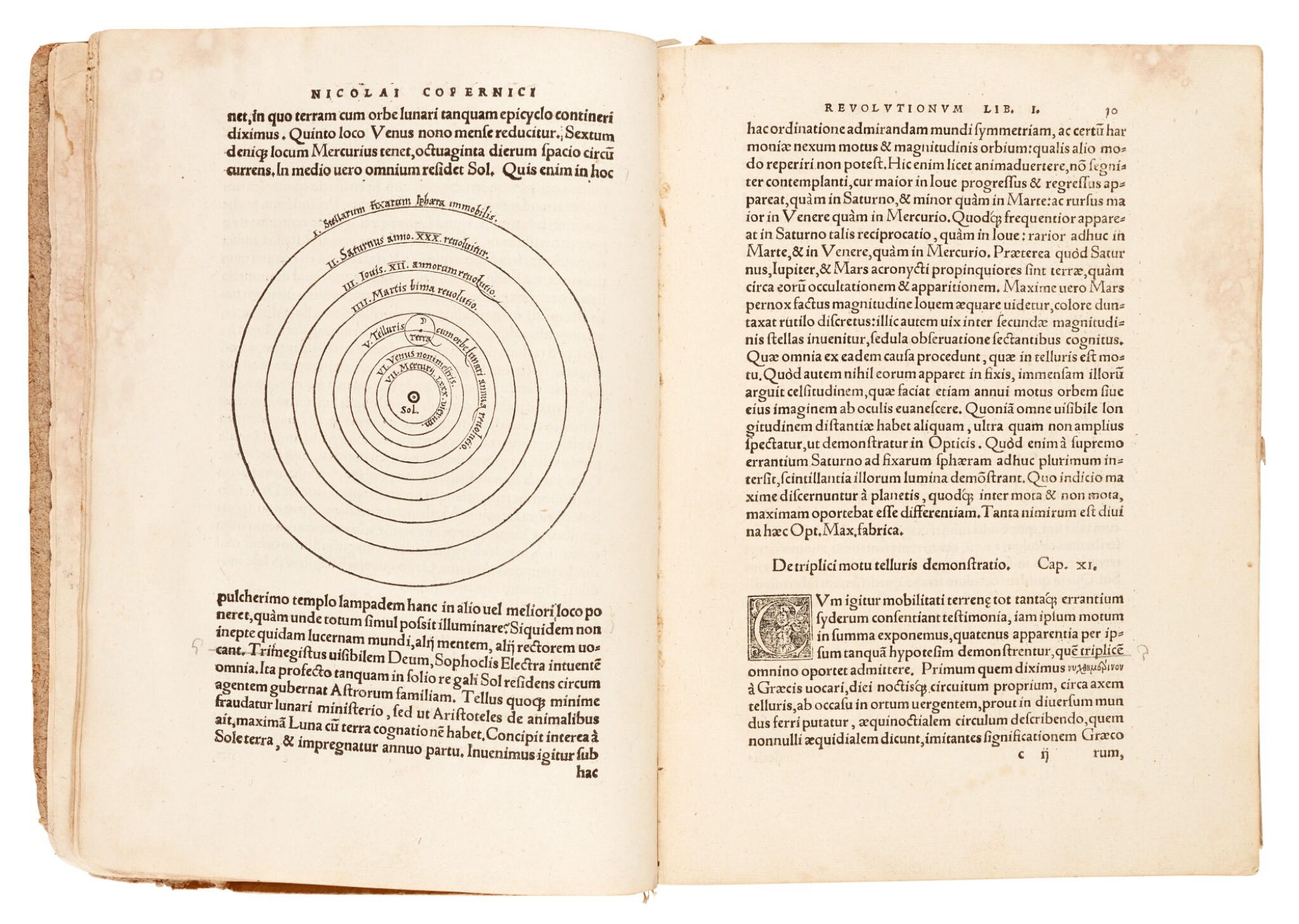 View full screen - View 1 of Lot 11. Copernicus | De revolutionibus orbium coelestium, Nuremberg, 1543, later boards, Rostock duplicate.