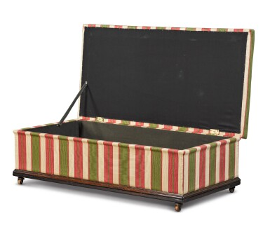 View 4. Thumbnail of Lot 99.  A LARGE SCALE REGENCY ROSEWOOD AND EBONISED FRAME OTTOMAN, SECOND QUARTER 19TH CENTURY.