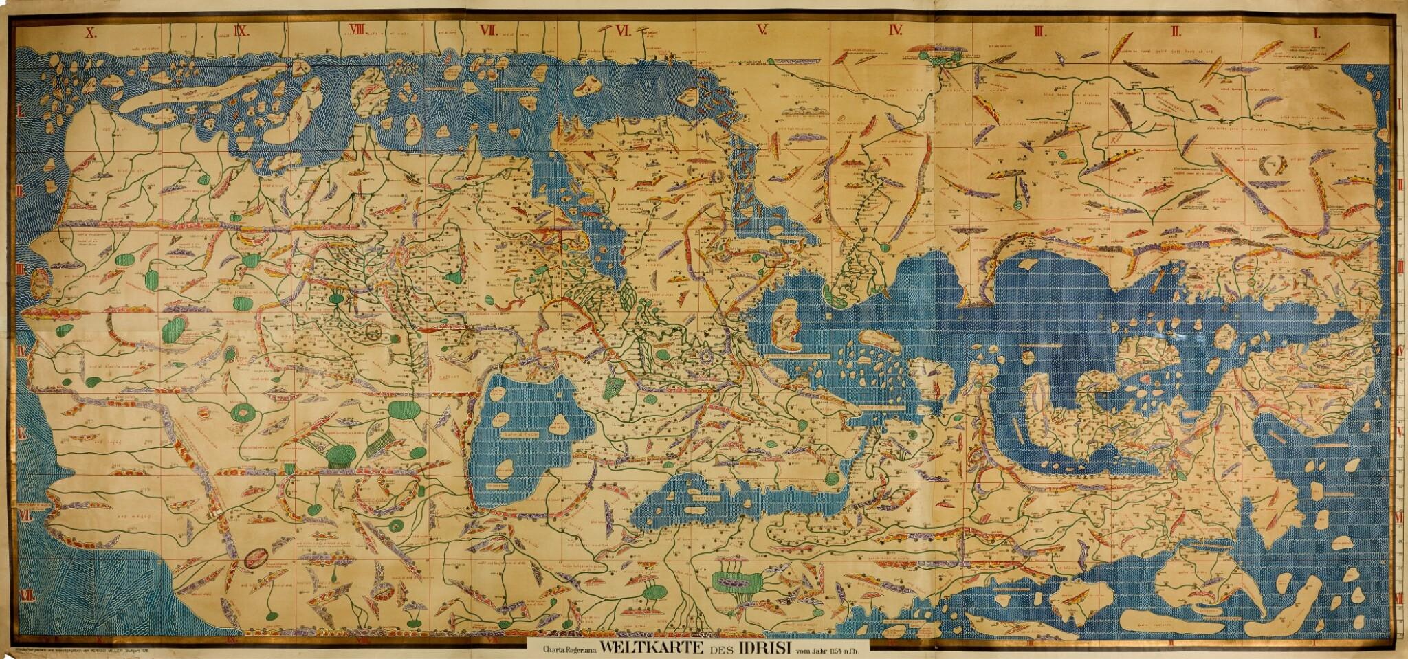 View full screen - View 1 of Lot 37. Al-Idrisi | Charta Rogeriana. Weltcarte des Idrisi, 1154 [but Stuttgart: Konrad Miller, 1928].