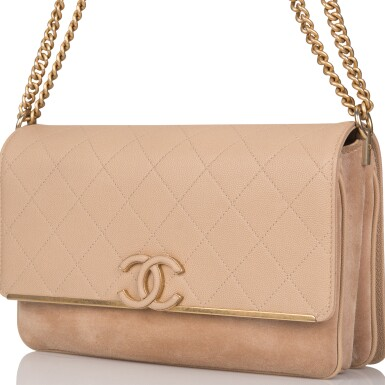View 4. Thumbnail of Lot 97. CHANEL    BEIGE FLAP BAG OF QUILTED CAVIAR AND SUEDE WITH MATTE GOLD TONE HARDWARE.