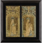 TWO MEDIEVAL OPUS ANGLICANUM EMBROIDERED ECCLESIASTICAL VERTICAL FRAGMENTS, ENGLISH, LATE 14TH CENTURY