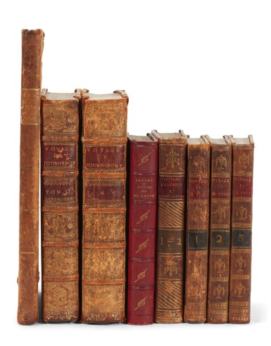 View 1. Thumbnail of Lot 210. Turkey and Greece   In French, 8 volumes, Tournefort Le Chevalier, Savary, Volney, and Castellan.