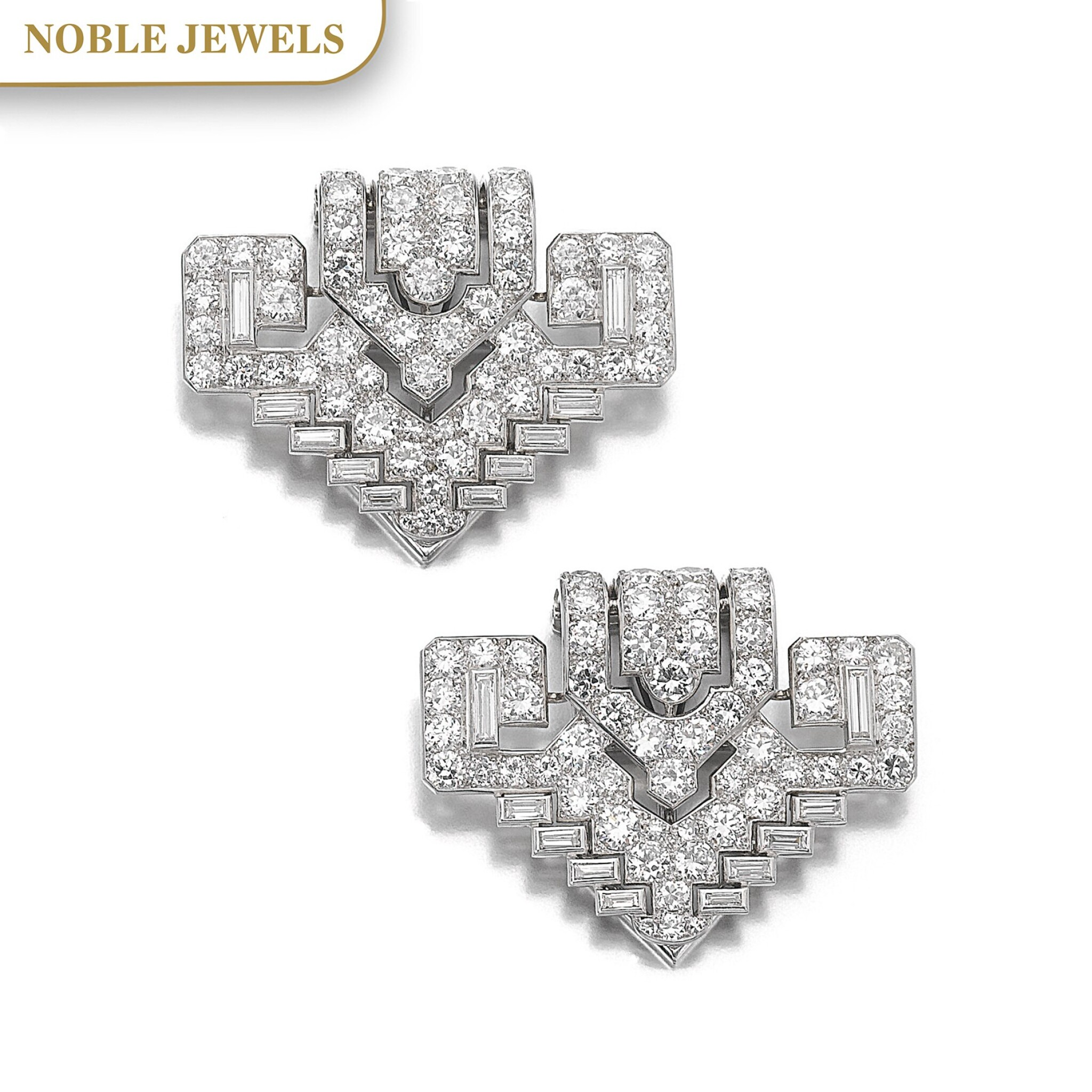 View full screen - View 1 of Lot 311. CARTIER   PAIR OF DIAMOND CLIPS, CIRCA 1930.
