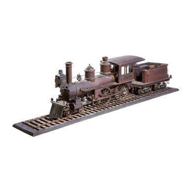 VERY RARE CARVED OAK BUILDER'S MODEL OF THE 'ALPHA' 4-4-0 LOCOMOTIVE