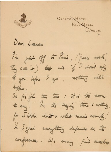View 1. Thumbnail of Lot 94. LAWRENCE | Autograph letter signed, to Leeson, on the Paris Peace Conference, January 1919.