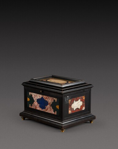 View 3. Thumbnail of Lot 179. An Italian pietra paesina and hardstones inlaid ebonised casket, the panel in the lid, Florence, 18th century, the other panels, Rome and 17th century; the casket late 19th century/early 20th century.
