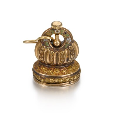 View 1. Thumbnail of Lot 283. SWISS | A GOLD AND ENAMEL MUSICAL FOB SEAL, CICA 1820.