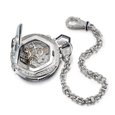 View 7. Thumbnail of Lot 2032. Piaget | A unique white gold, diamond and sapphire-set minute repeating split seconds chronograph open face watch with mother-of-pearl dial and case back, accompanied by white gold, diamond, sapphire and crystal presentation stand, Circa 2000 | 伯爵 | 獨一無二白金鑲鑽石及藍寶石三問追針計時懷錶,備珠母貝錶盤及背蓋,附帶白金鑲鑽石、藍寶石及水晶展示座,約2000年製.