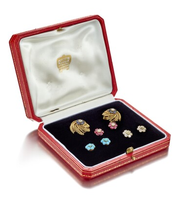 View 1. Thumbnail of Lot 9142. PAIR OF GEM SET AND DIAMOND EARCLIPS, CARTIER | 寶石 配 鑽石 耳環一對, 卡地亞(Cartier).