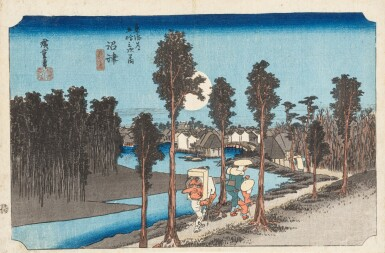 View 3. Thumbnail of Lot 270. Ando Hiroshige Japon | 日本 歌川広重 《東海道五拾三次之内・沼津・黄昏圖》、 《江都名所・御殿山遊興》、 《東都名所・芝赤羽根之雪》 | Ando Hiroshige, three prints from various series: Numazu (Numazu, tasogare zu) from the series Fifty-three Stations of the Tokaido, ca. 1833-1834 ; Snow at Akabane Bridge in Shiba, from the series Famous Places of the Eastern Capital, ca. 1837; Cherry blossoms at Goten-yama, from the series Famous Places in Edo, ca. 132-1834.