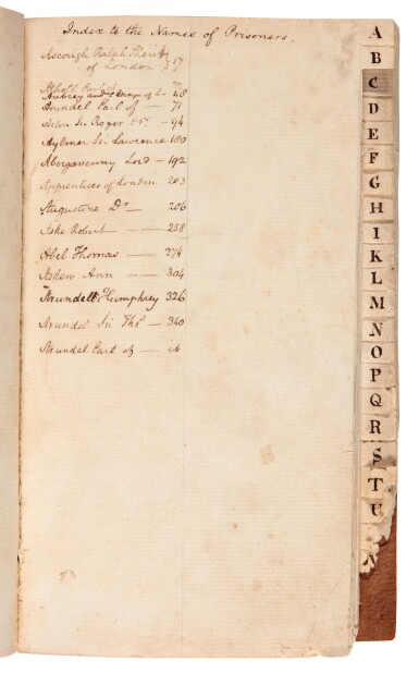 View 2. Thumbnail of Lot 30. BONNEY | Manuscript history of the Tower of London, 1 volume, c.1794.
