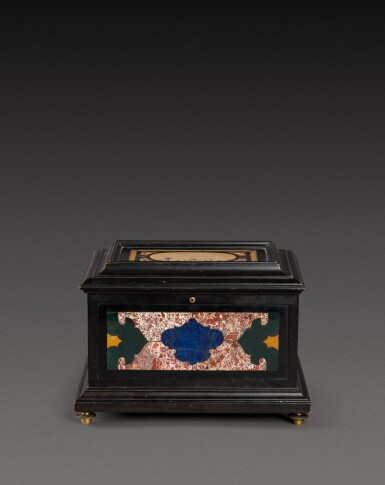 View 2. Thumbnail of Lot 179. An Italian pietra paesina and hardstones inlaid ebonised casket, the panel in the lid, Florence, 18th century, the other panels, Rome and 17th century; the casket late 19th century/early 20th century.