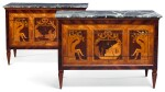 A PAIR OF NORTH ITALIAN ROSEWOOD, TULIPWOOD, BOIS SATINÉ AND MARQUETRY COMMODES, LOMBARDY LATE 18TH CENTURY, IN THE MANNER OF GIUSEPPE MAGGIOLINI