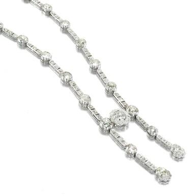 View 2. Thumbnail of Lot 36. Diamond necklace, circa 1900.