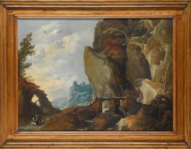 FOLLOWER OF JOOS DE MOMPER | Mountainous landscape with Judah and Tamar