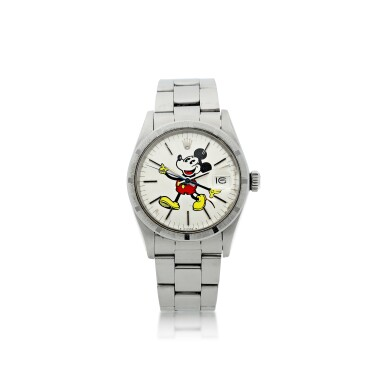 View 1. Thumbnail of Lot 805. ROLEX   REFERENCE 1501, 'MICKEY MOUSE' A STAINLESS STEEL AUTOMATIC WRISTWATCH WITH DATE AND BRACELET, CIRCA 1974.