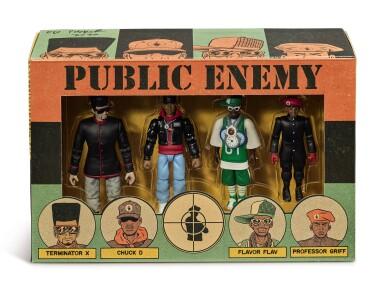 View 7. Thumbnail of Lot 41. ED PISKOR | Original artwork & designs for Public Enemy action figures, w/ original set of action figures.