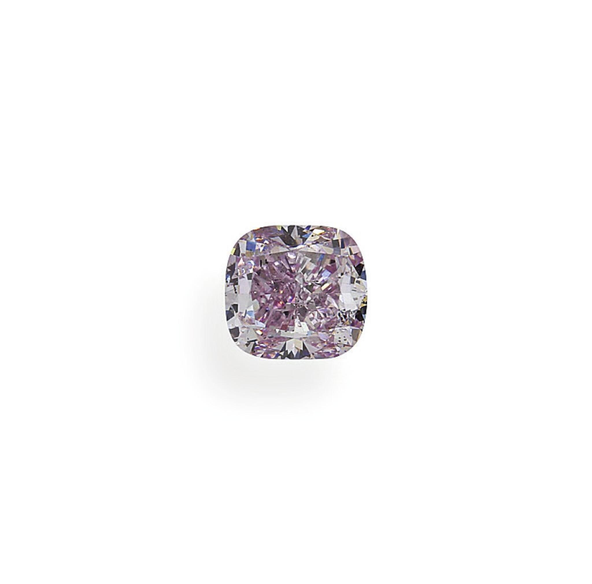 View full screen - View 1 of Lot 27. A 1.01 Carat Fancy Pink-Purple Cushion-Cut Diamond, SI1 Clarity.