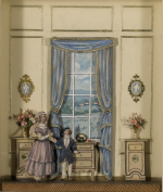 A PAIR OF FRAMED PAPER CUTOUT DOLLS AND A SHADOW BOX MODEL OF AN 18TH CENTURY ENGLISH INTERIOR