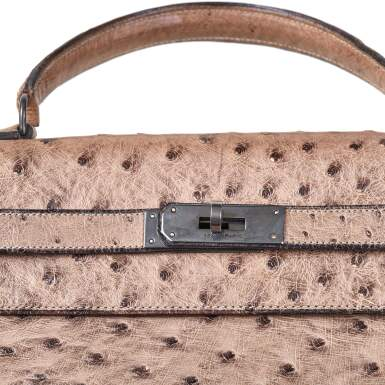 View 7. Thumbnail of Lot 356. Mousse Kelly 35cm in Ostrich Leather with Gold Hardware, 1978.