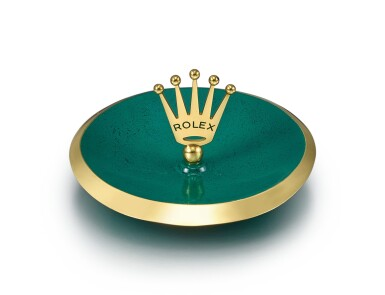 ROLEX | A GILT BRASS AND GREEN ENAMEL CANDY DISH, CIRCA 1960