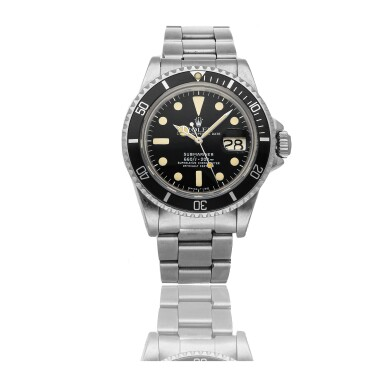 ROLEX | SUBMARINER REF 1680, A STAINLESS STEEL AUTOMATIC WRISTWATCH WITH DATE AND BRACELET CIRCA 1979