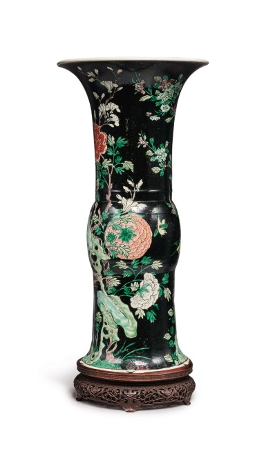 View 3. Thumbnail of Lot 1030. A FAMILLE-NOIRE 'BIRD AND FLOWER' BEAKER VASE, THE PORCELAIN 18TH CENTURY, THE ENAMELS LATER-ADDED.