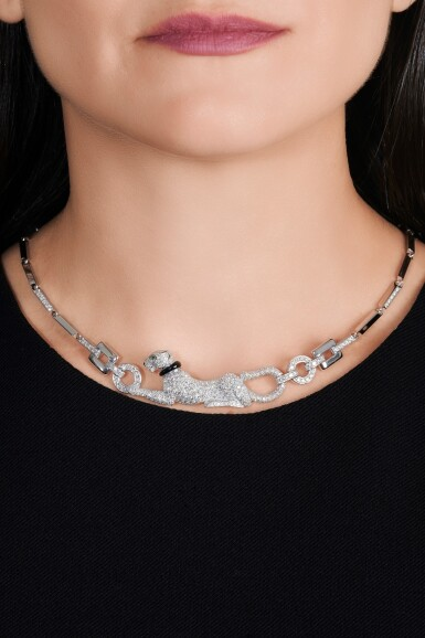 View 4. Thumbnail of Lot 13. Diamond, emerald and onyx necklace, 'Dame à la panthère'.