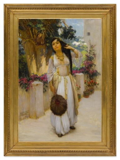 View 2. Thumbnail of Lot 27. FREDERICK ARTHUR BRIDGMAN | WOMAN OF ALGIERS ON A BALCONY (A VARIANT).