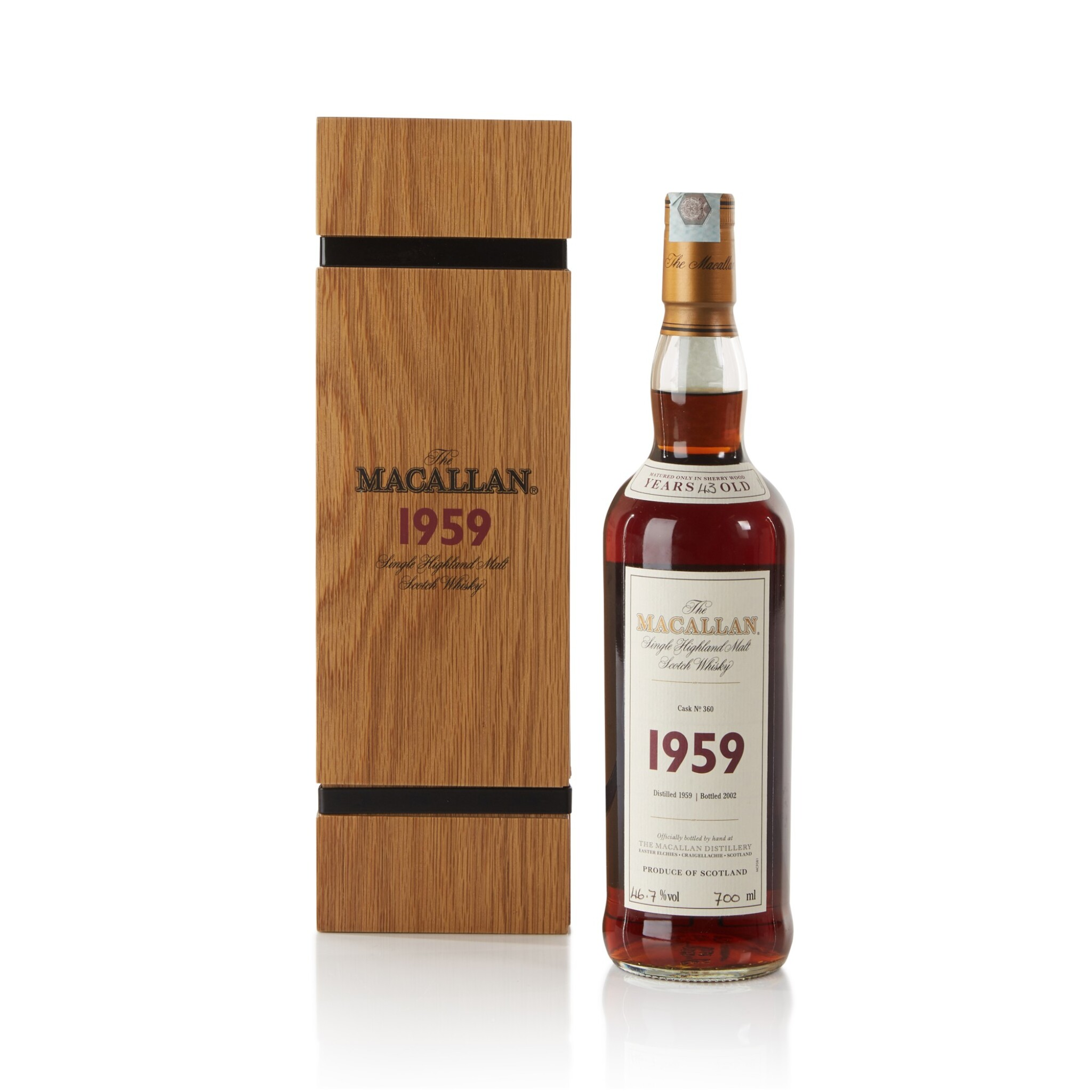 View full screen - View 1 of Lot 28. The Macallan Fine & Rare 43 Year Old 46.7 abv 1959 .